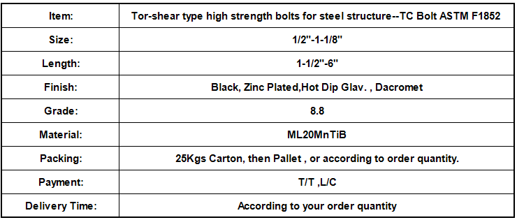 Tor-shear type high strength bolts for steel structure--TC Bolt ASTM F1852.png
