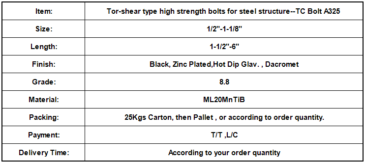 Tor-shear type high strength bolts for steel structure--TC Bolt A325.png