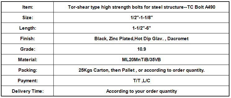 Tor-shear type high strength bolts for steel structure--TC Bolt A490.png