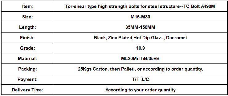 Tor-shear type high strength bolts for steel structure--TC Bolt A490M.png