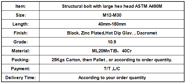 Structural bolt with large hex head ASTM A490M.png